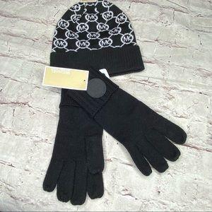 MIchael Kors Beanie Gloves Set Black White